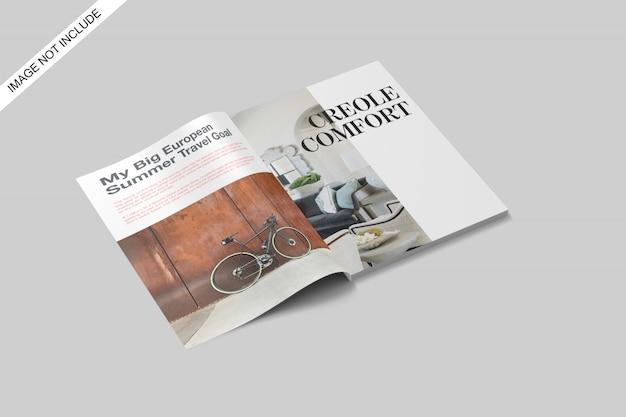 А4 открыл журнал макет верхнего угла обзора premium psd