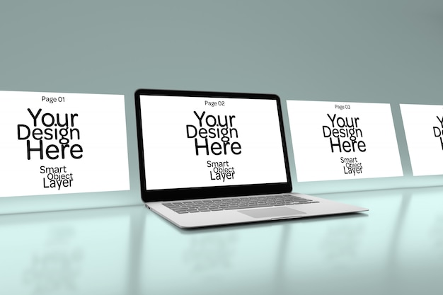 デスクトップコンピューターモックアップ上の4つのwebページの表示