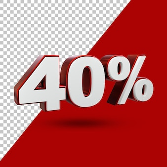 40% предлагают этикетку 3d-рендеринг изолированной
