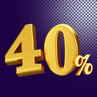 40 процентов от стиля текста 3d-рендеринга изолированной концепции