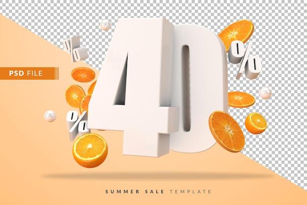 40-процентная летняя распродажа с разрезанными апельсинами в 3d-рендере Premium Psd