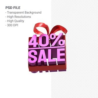 Продажа 40% с бантом и лентой 3d дизайн изолированы