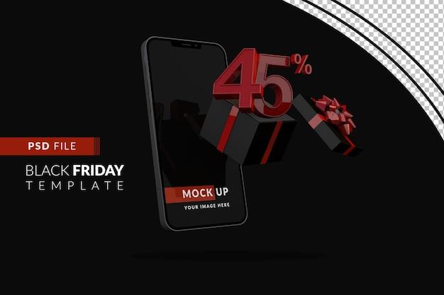 45-процентная акция черной пятницы с макетом смартфона и черной подарочной коробкой