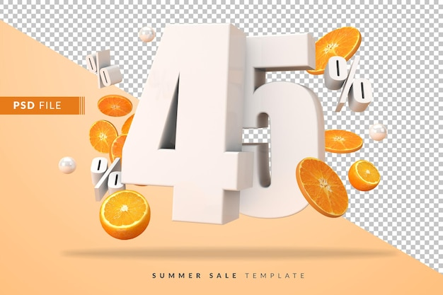 45-процентная летняя распродажа с разрезанными апельсинами в 3d-рендере