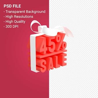45-процентная распродажа с бантом и лентой 3d-дизайн изолированы