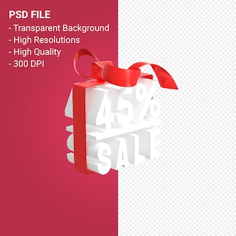 Распродажа 45% с бантом и лентой 3d-дизайн на изолированном фоне