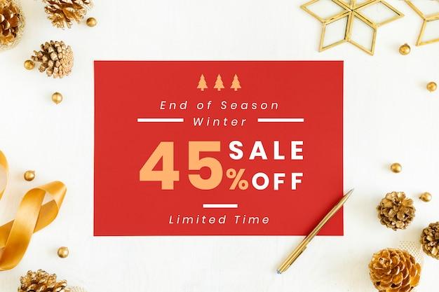 45%クリスマスセールのサインモックアップ