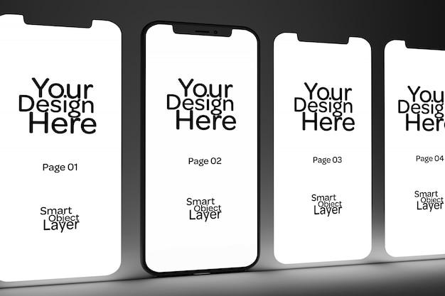 Просмотр 4 веб-страниц на экране мобильного макета