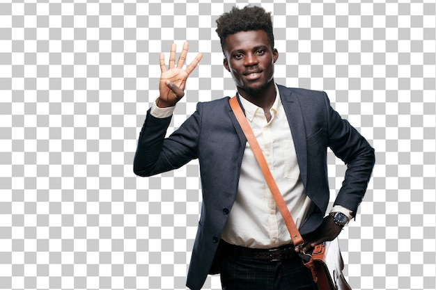 若い黒の実業家は、笑顔と満足して幸せを見て、指で4番を数える。