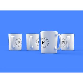 青い背景の4つのマグカップ