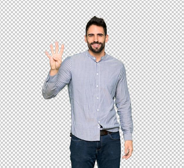 幸せなシャツと指で4つを数えてエレガントな男