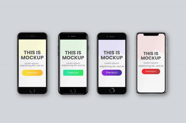 4種類のスマートフォン画面モックアップ