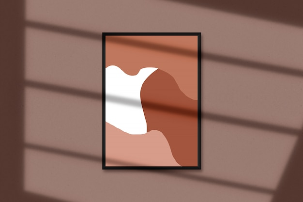 А4 пустая рамка для фотографий, арт, графика с наложением теней листьев. изолированный макет рамки рисунка
