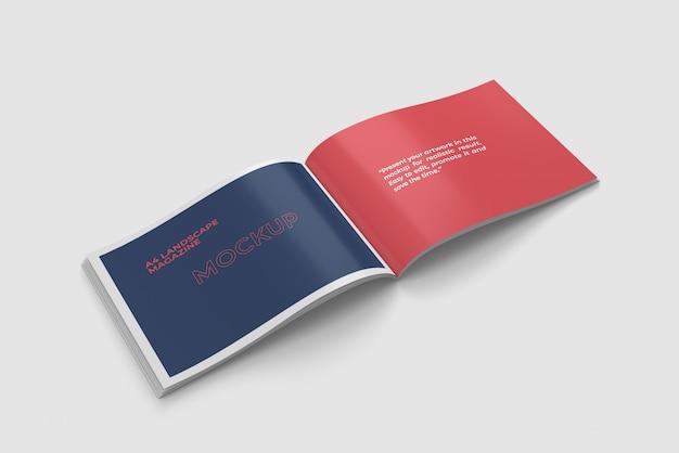 Открыт пейзаж а4 журнал макет высокого угла зрения