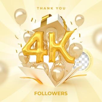 4k последователей с числами воздушные шары 3d визуализации