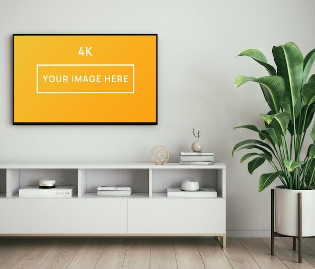 Реалистичный макет интерьера 4k tv