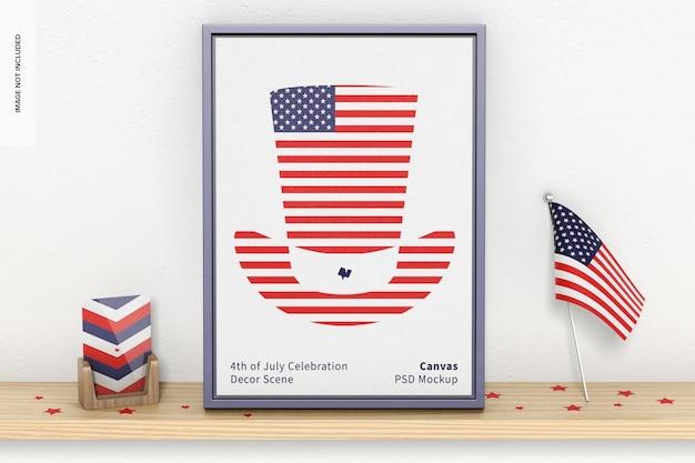 7月4日のお祝いの装飾シーンのモックアップ、正面図