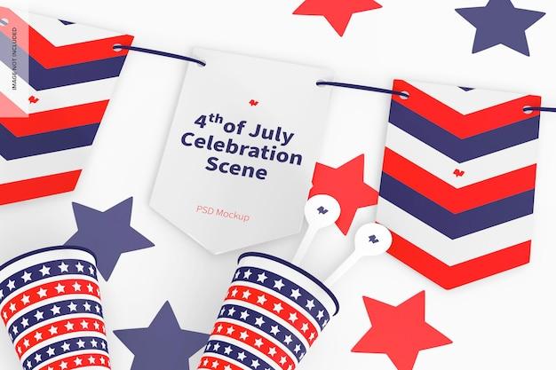 Мокап сцены празднования 4 июля, крупный план