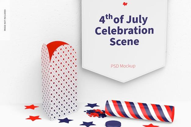 7月4日のお祝いシーンのモックアップ