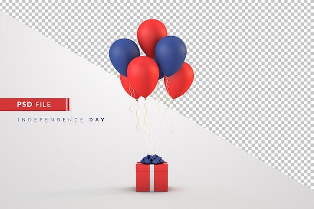 7 月 4 日の独立記念日の風船とギフト ボックス