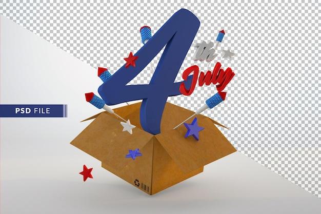 미국 3d 렌더링에서 7 월 독립 기념일의 4
