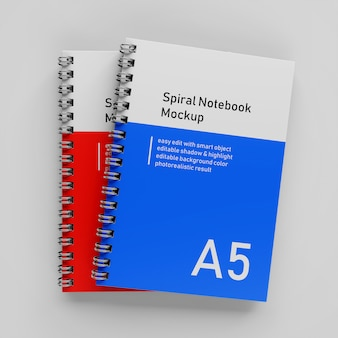 Реалистичные с накоплением двойной корпоративный а5 твердый переплет спираль binder блокнот макет дизайн шаблона в вид сверху
