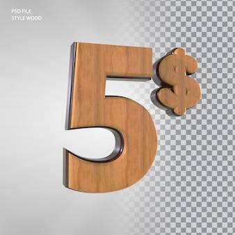 3d номер 5 долларов с деревянным стилем