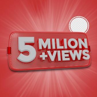 500万人の加入者3dレンダリング