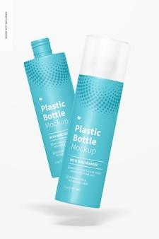 Mockup di bottiglie di plastica da 5 once, che cadono