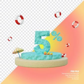 5-процентная летняя распродажа с 3d-рендером подиума с номером океана