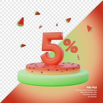 5-процентная летняя распродажа с 3d визуализацией подиума watemelon
