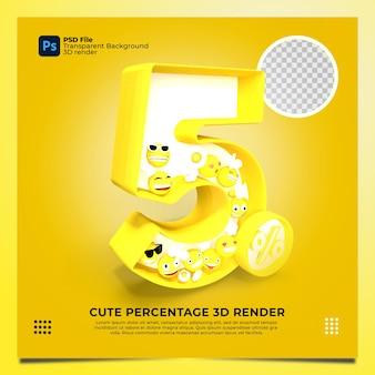 5 процентов 3d рендера желтого цвета с элементами