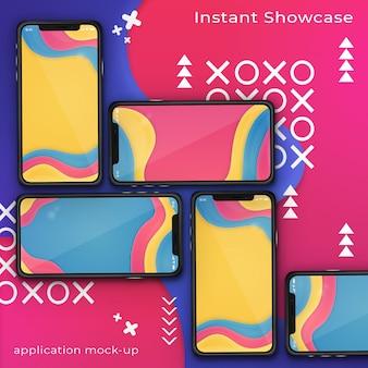 カラフルな抽象的な背景に5つのスマートフォンのpsdモックアップ