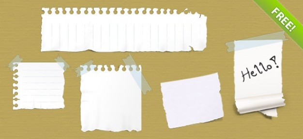 5 ripped paper notes