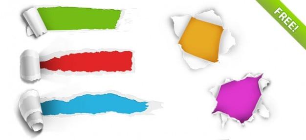 5 отверстия ripped бумаги