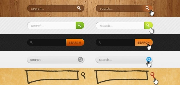 5 search boxes psd material