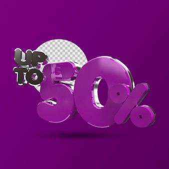 50 percent off in 3d render isolated