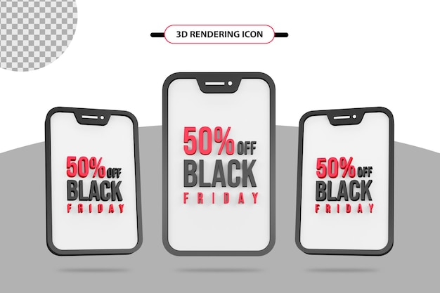 50 percent off for black friday 3d rendering icon