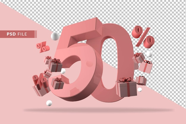 50 percent off promotion 3d rendering isolated