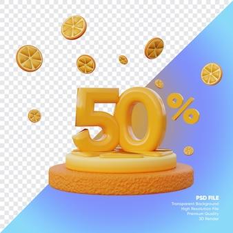 50-процентная летняя распродажа с ломтиком оранжевого подиума 3d визуализации