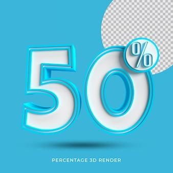 50 процентов 3d-рендеринга синего цвета