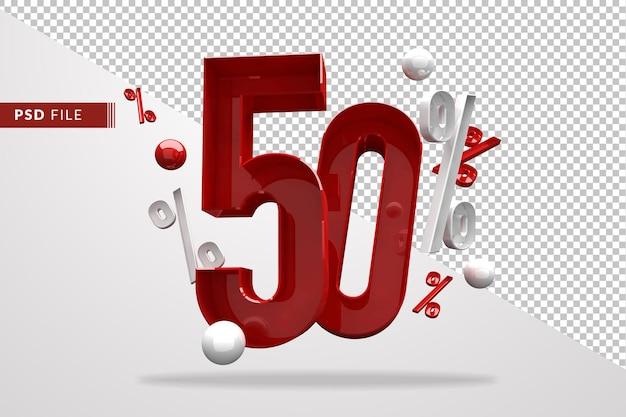 50 процентов знак процента 3d номер красный, шаблон файла psd