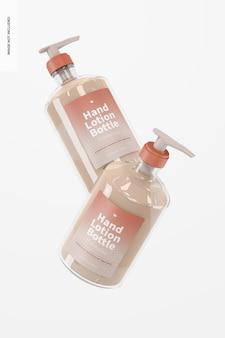 Mockup di flacone di lozione per le mani da 500 ml, che cade
