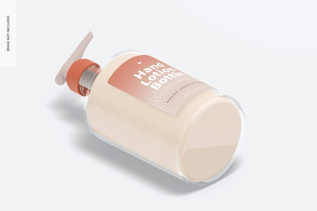 Mockup di bottiglia di lozione per le mani da 500 ml, vista isometrica