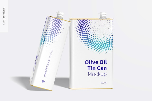 500ml olive oil rectangular tin cans mockup