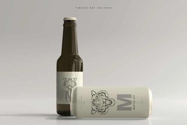 500ml sleek soda or beer can with bottle mockup