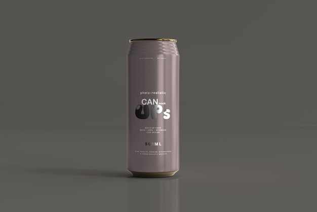 500ml sleek soda can mockup Free Psd