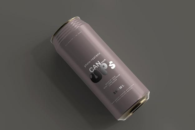 500ml sleek soda can mockup