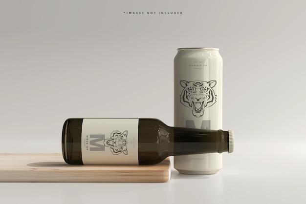 Элегантная банка газировки или пива объемом 500 мл с макетом бутылки