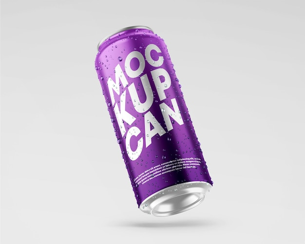 500ml soda can mockup with water drops